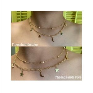 Jewelry - Sun and moon gold layer choker necklace